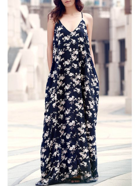 outfit Floral Print Floor-Length Dress - PURPLISH BLUE ONE SIZE(FIT SIZE XS TO M) Mobile