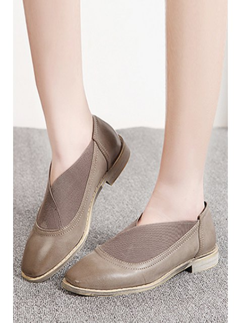 fancy Elastic Band Square Toe Flat Shoes - GRAY 36 Mobile
