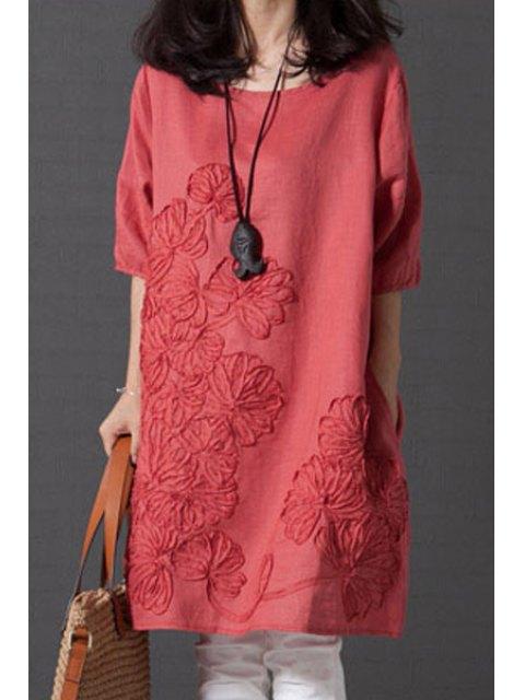 ladies Smock Oversized V Back Dress - WATERMELON RED S Mobile