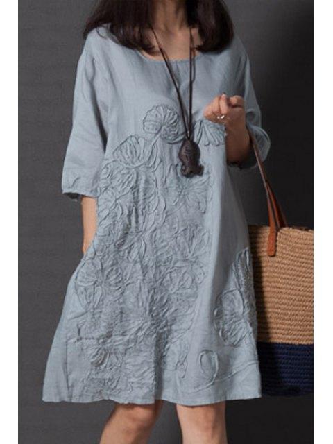 unique Smock Oversized V Back Dress - LIGHT BLUE XL Mobile