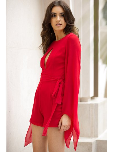 Cut Out Round Collar Cape Sleeve Tied Romper - RED M Mobile