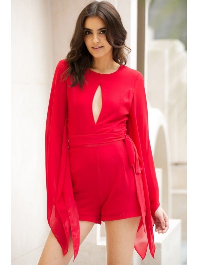 Cut Out Round Collar Cape Sleeve Tied Romper - RED L Mobile