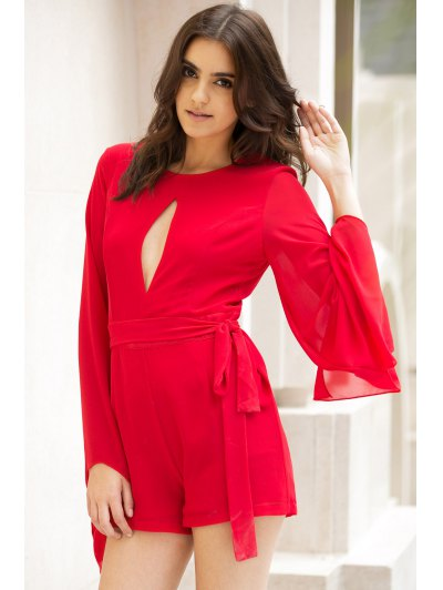 Cut Out Round Collar Cape Sleeve Tied Romper - RED XL Mobile