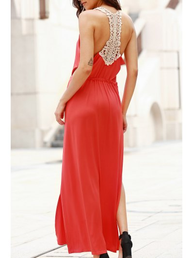 Cut Out Scoop Neck Lace Spliced Maxi Dress - Red