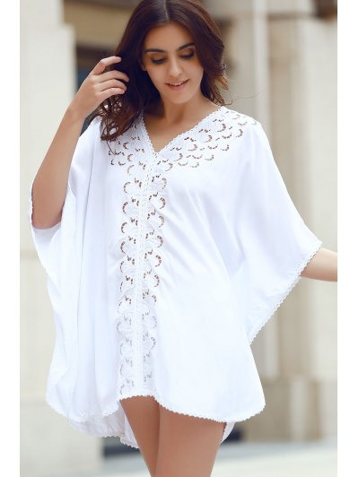 Embroidery V-Neck Hollow Out Cover Up - White One Size(fit Size Xs To M)