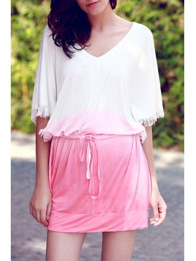 Ombre Color V Neck Half Sleeve Dress - Pink