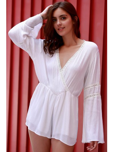 White Plunging Neck Flare Sleeve Romper - WHITE XL Mobile