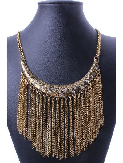 Retro Ethnic Crescent Link Chain Tassel Necklace For Women