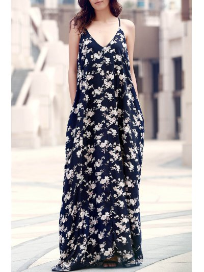Floral Print Floor-Length Dress - Purplish Blue One Size(fit Size Xs To M)