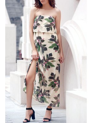 Hawaiian Bandeau Leaf Print Flowing Maxi Dress - Off-white