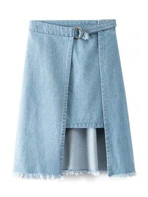 Irregular Hem Frayed Denim Skirt - Blue