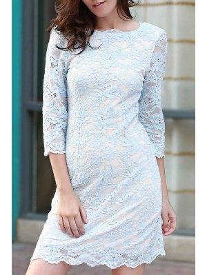Lace Round Neck 3/4 Sleeve Dress - Blue