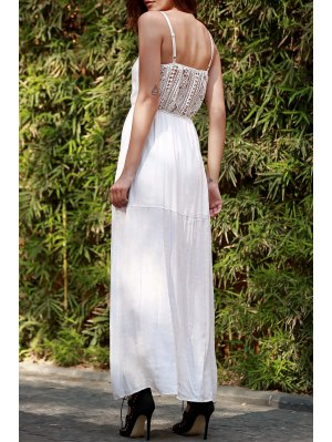 Lace Splice Spaghetti Strap Maxi Dress - White