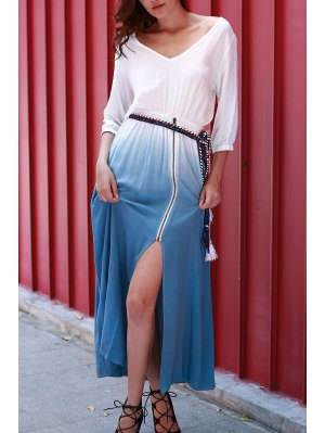 Dip Dye V Neck OndadeMar Maxi Dress - Blue And White