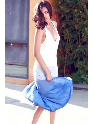 Blue Ombre Color Plunging Neck Sleeveless Sundress - Blue