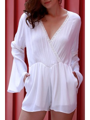 White Plunging Neck Flare Sleeve Romper - White