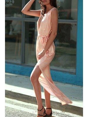 Zig Zag Print Plunging Neck Sleeveless Maxi Dress - Orangepink