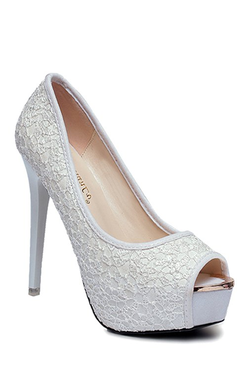 Lace Platform Stiletto Heel Peep Toe Shoes