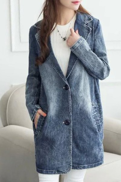 Lapel Long Sleeve Pocket Design Bleach Wash Denim Coat