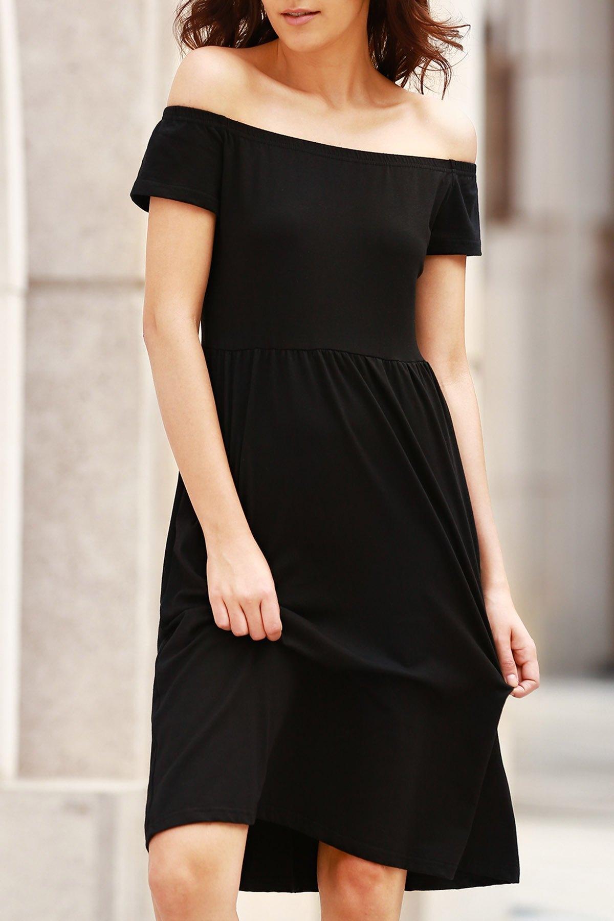 Solid Color Off The Shoulder Short Sleeve DressClothes<br><br><br>Size: 2XL<br>Color: BLACK