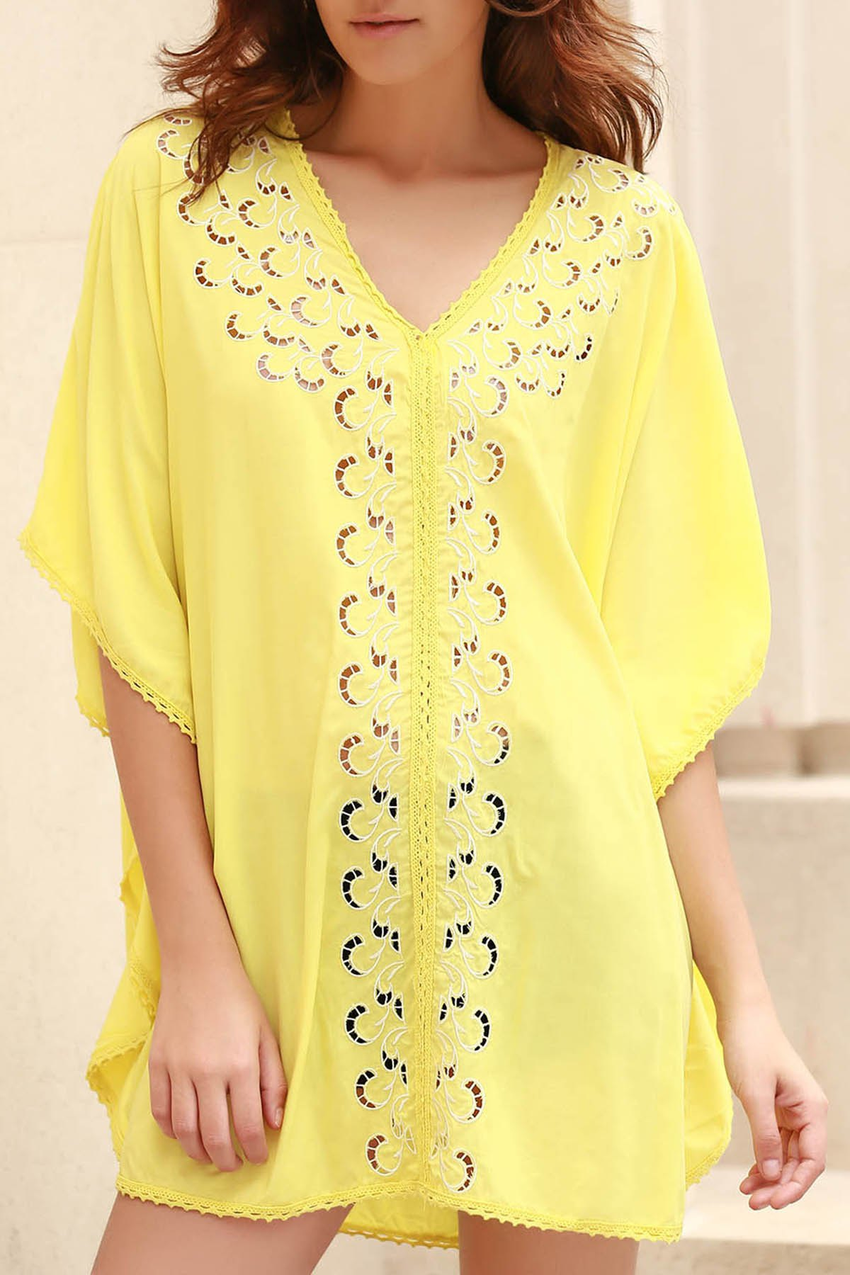 V-Neck Embroidery Hollow Out Cover Up