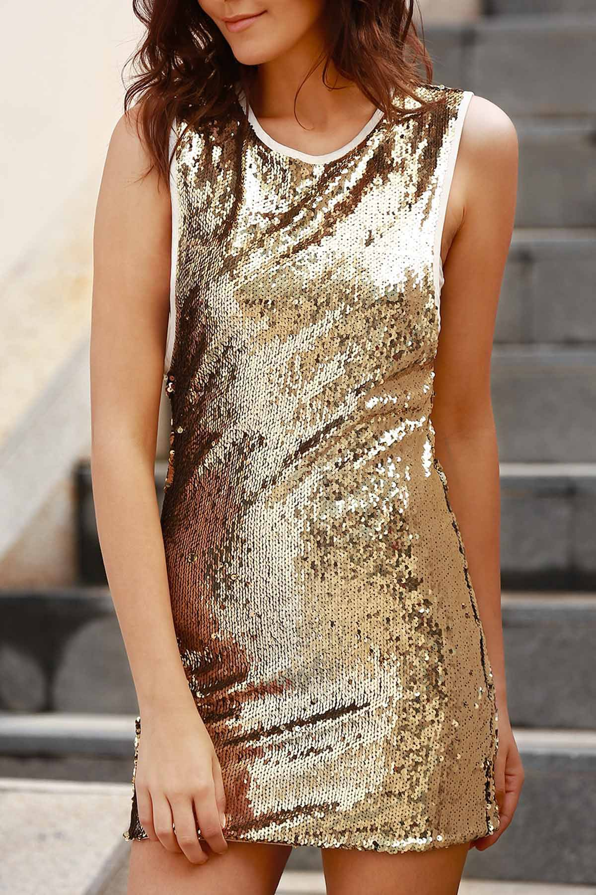 Round Collar Sleeveless Sequins Bodycon Dress