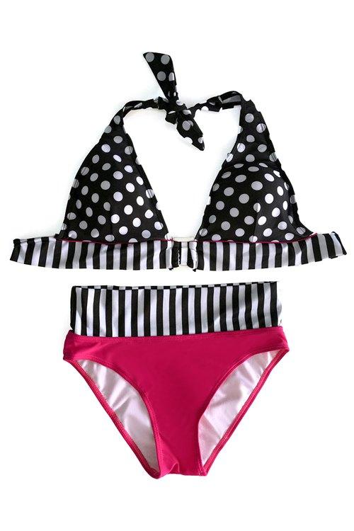 Halter Polka Dot Stripe Bikini Set