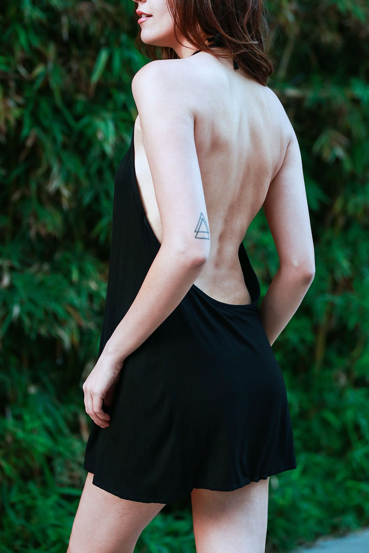 Halter Black Backless Mini Dress