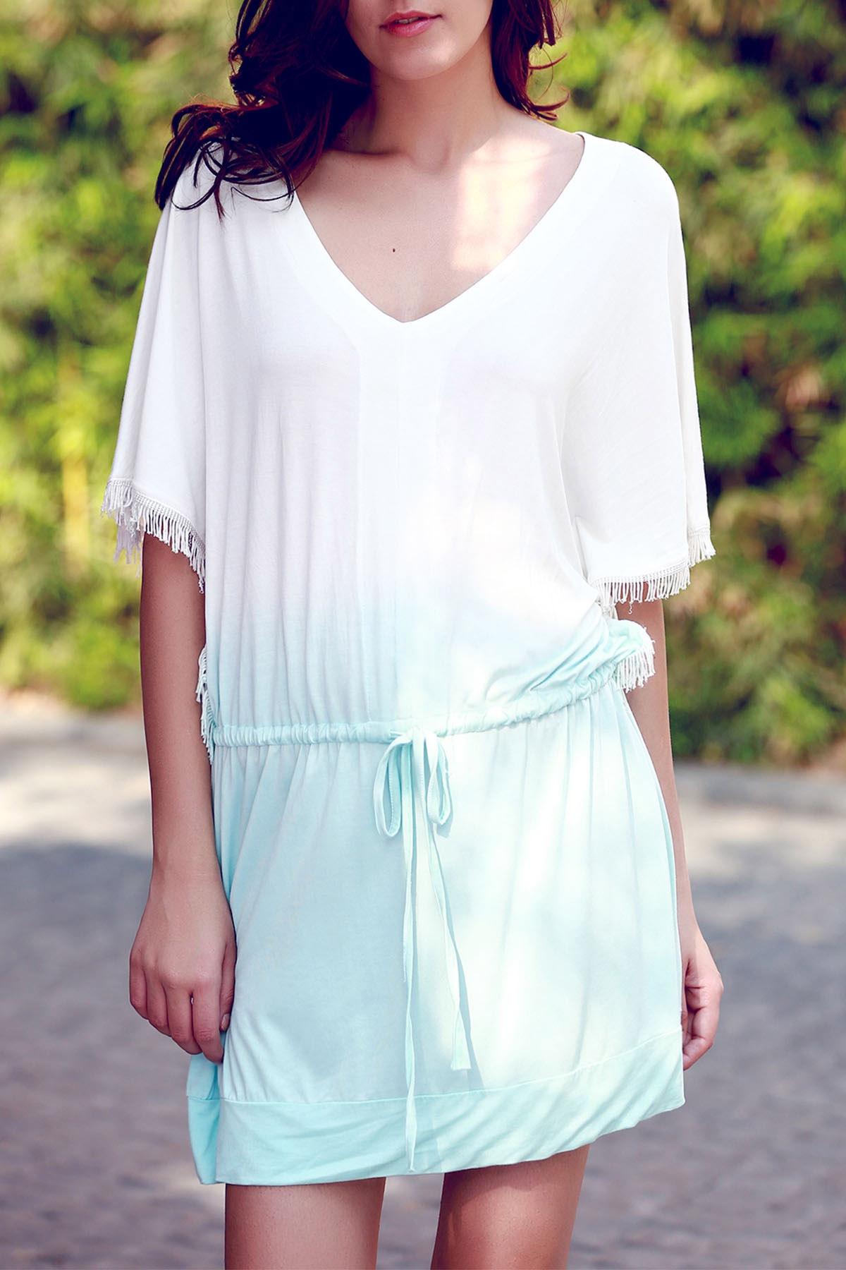 V Neck Half Sleeve Ombre Color Dress