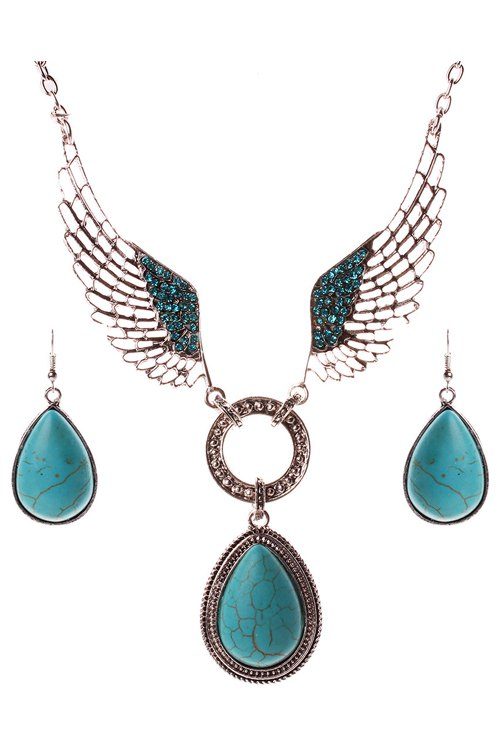 A Suit of Faux Turquoise Water Drop Wing Necklace and Earrings