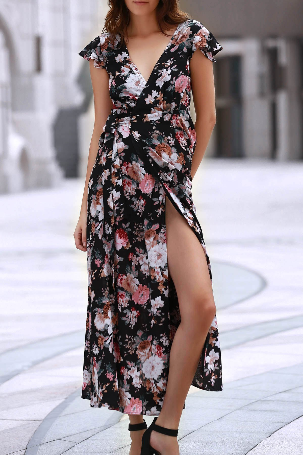 Cap Sleeve Full Floral Lace-Up Wrap Chiffon Dress