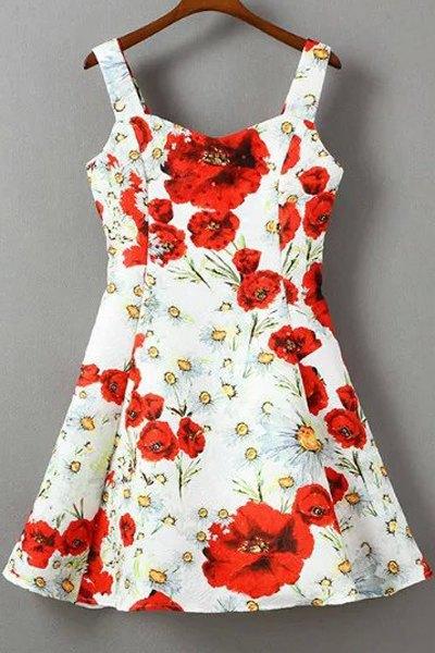 Straps Floral Print Dress
