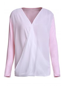 Cross-Over Collar Draped Blouse