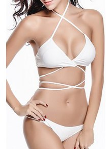 Solid Color Halter Bikini Set