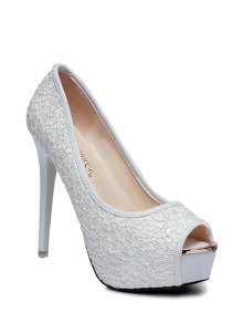 Lace Platform Stiletto Heel Peep Toe Shoes - White 35