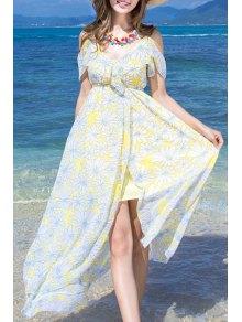 Cut-Out Floral Print Spaghetti Straps Dress - Light Yellow