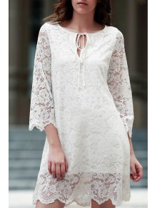 Lace Scoop Neck 3/4 Sleeve Dress