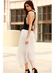 Color Block Splicing Backless Sleeveless Dress - WHITE/BLACK S