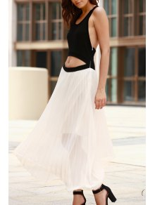 Cut Out Two Tone Maxi Dress - White And Black M