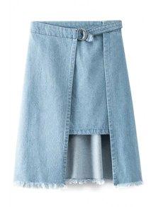 Irregular Hem Effilochée Denim Skirt - Bleu