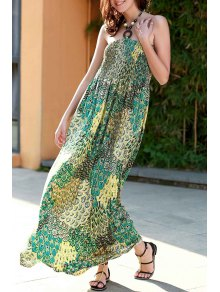 Printed Halter Strapless Maxi Dress - Green S