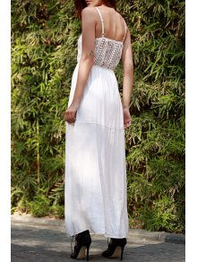 Lace Splice Spaghetti Strap Maxi Dress
