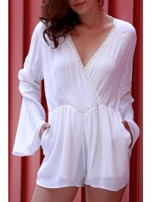 White Plunging Neck Flare Sleeve Romper - White Xl