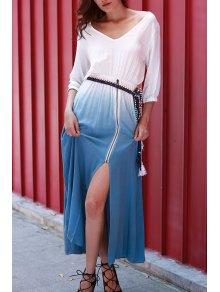 Dip Dye V Neck OndadeMar Maxi Dress - Blue And White M