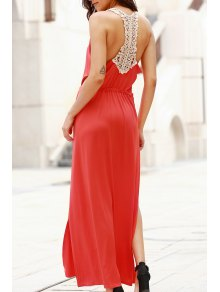 Cut Out Scoop Neck Lace Spliced Maxi Dress - Red M