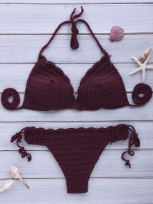 Sexy Halterneck Purple Crochet Bikini Set For Women