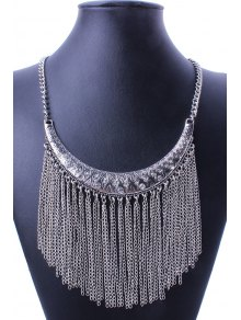 Ethnic Crescent Link Chain Tassel Necklace - Silver