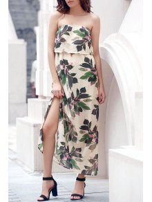 Hawaiian Bandeau Leaf Print Flowing Maxi Dress - Off-white L