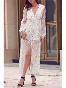 High Slit Plunging Neck Long Sleeve Sequins Dress - White Xl