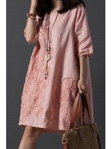 Smock Oversized V Back Dress - Pink